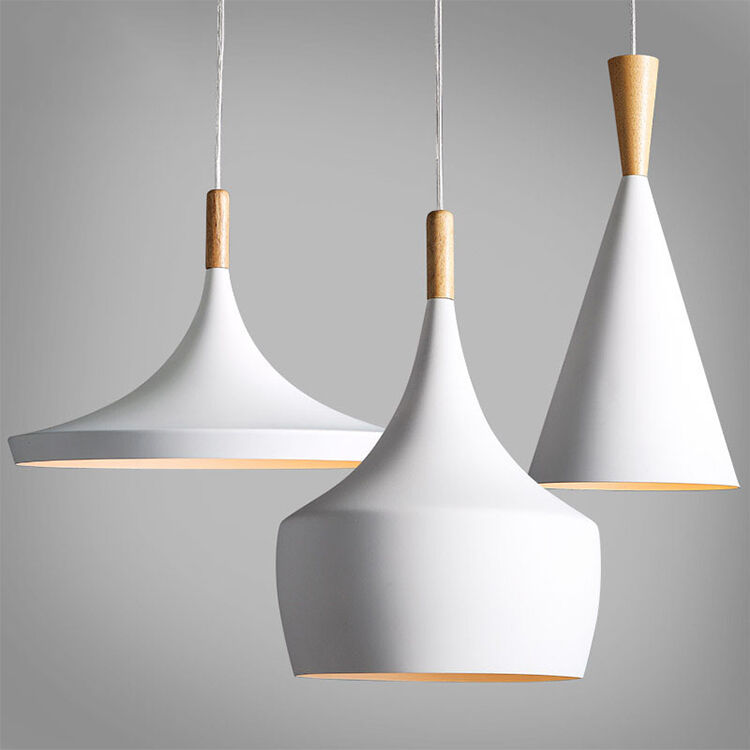 Modern wood metal light chandelier pendant lighting for Suspension bois et blanc