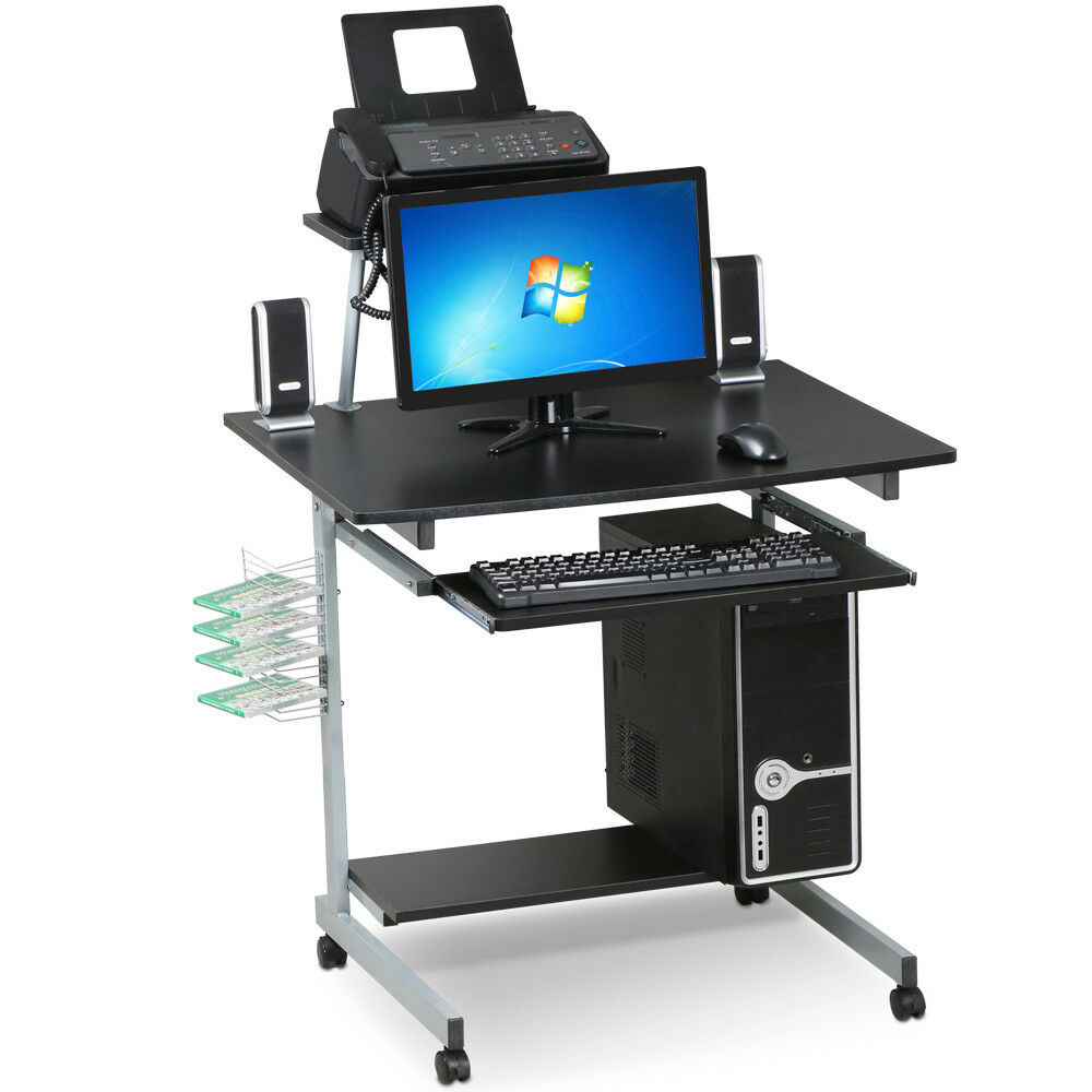 Mobile Computer Desk With Keyboard Tray Printer Shelf And Monitor Pc Stand Black 1 Of 11free