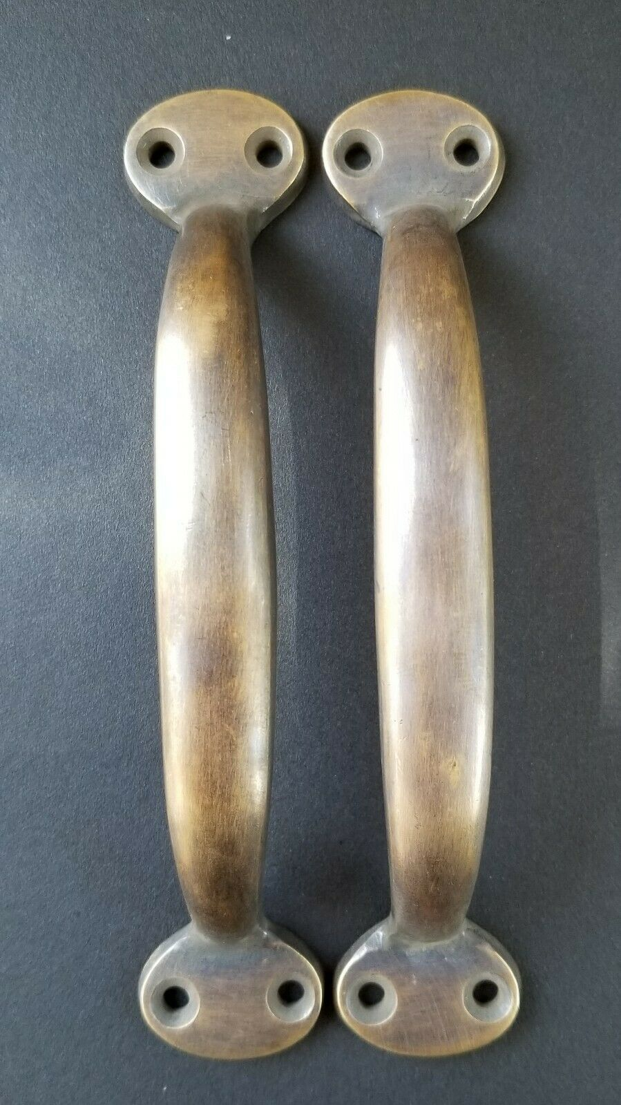 "2 Solid antique brass large  strong file cabinet trunk handles  5 1/4"" #P1"