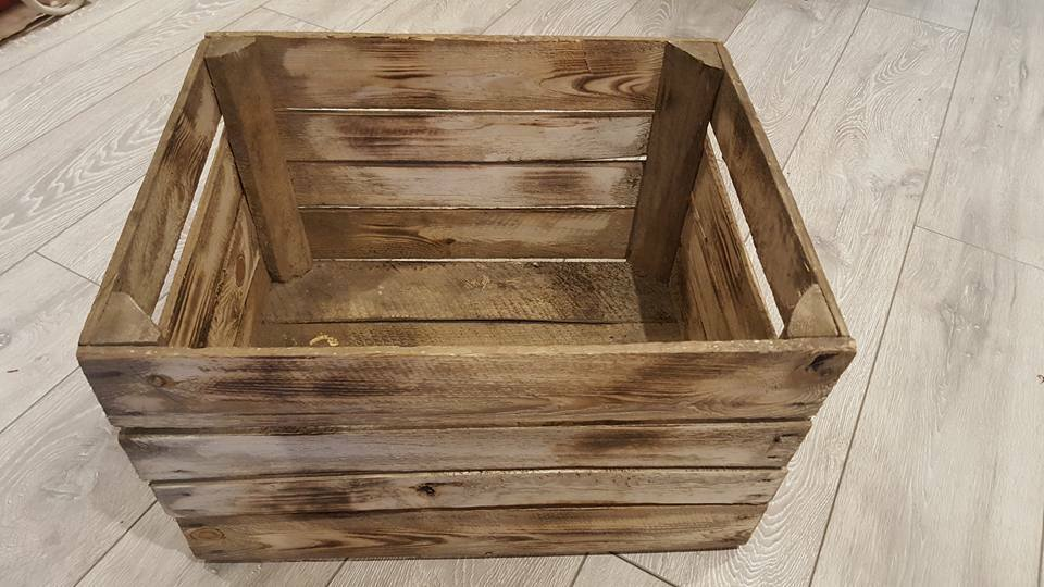 3 x BURNT TOURCHED WOOD VINTAGE WOODEN APPLE FRUIT CRATE RUSTIC OLD BUSHEL BOX..