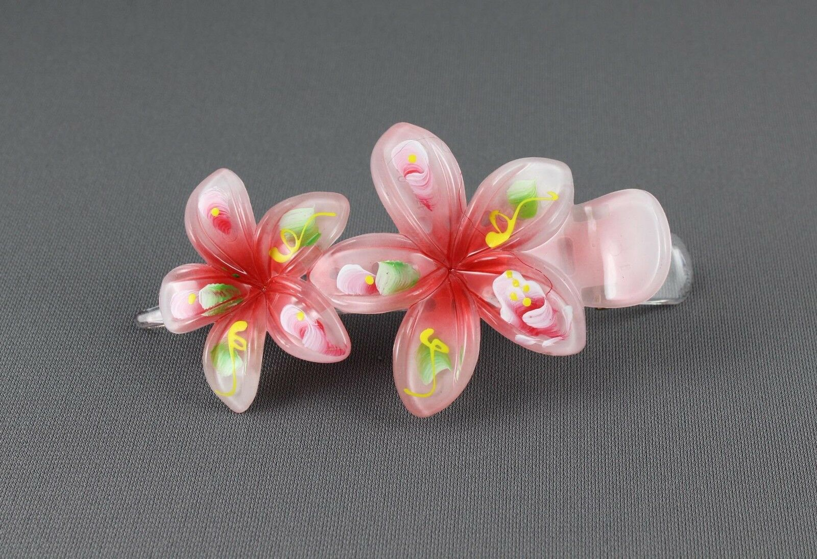 Red Painted Plumeria Hair Clip Hawaiian Flower Barrette Alligator