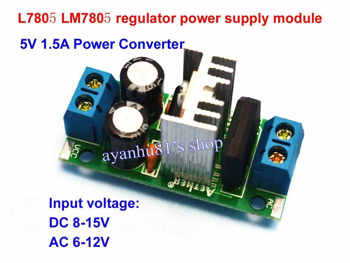 Lm7805 L7805 Ac Dc To 5v 15a Regulator Rectifier Converter Power 12v 6v Circuit With 7805 1 Of 4 See More