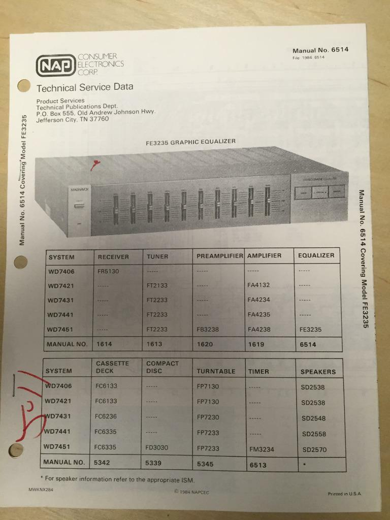 Magnavox Service Manual For The Fe3235 Graphic Equalizer 898 Dvd Vcr Wiring Diagram 1 Of 1only Available