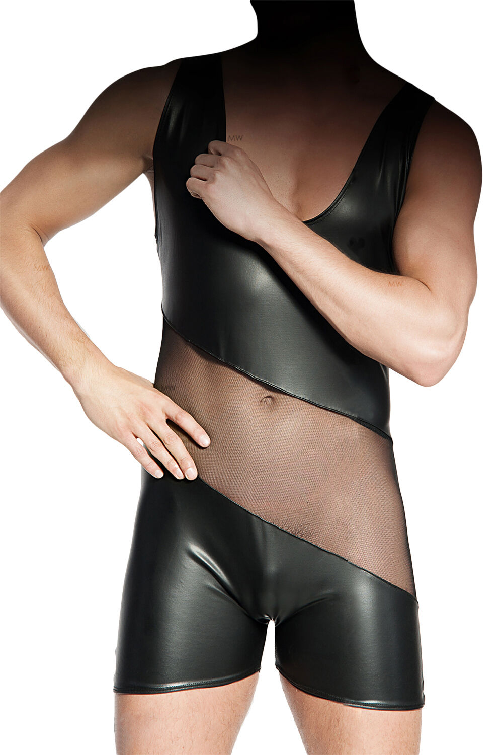 MeSeduce Dessous Herrendessous Herrenbody Bodys schwarz Clubwear sexy Wetlook