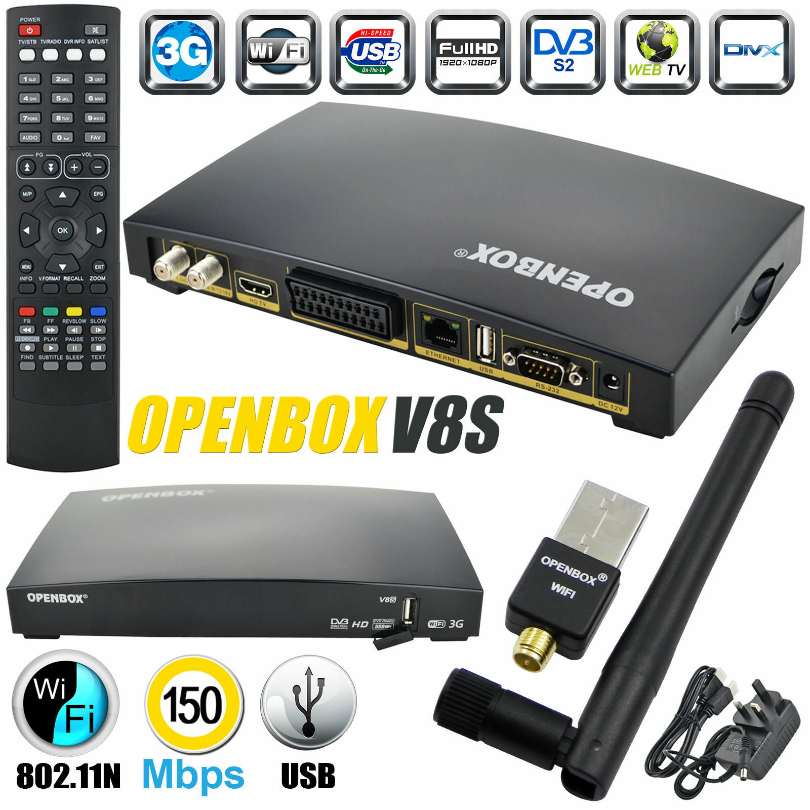 OPENBOX V8S 2016 Digital Satellite Receiver HD Freesat Box Recorder Wifi Dongle - £28.99 ...