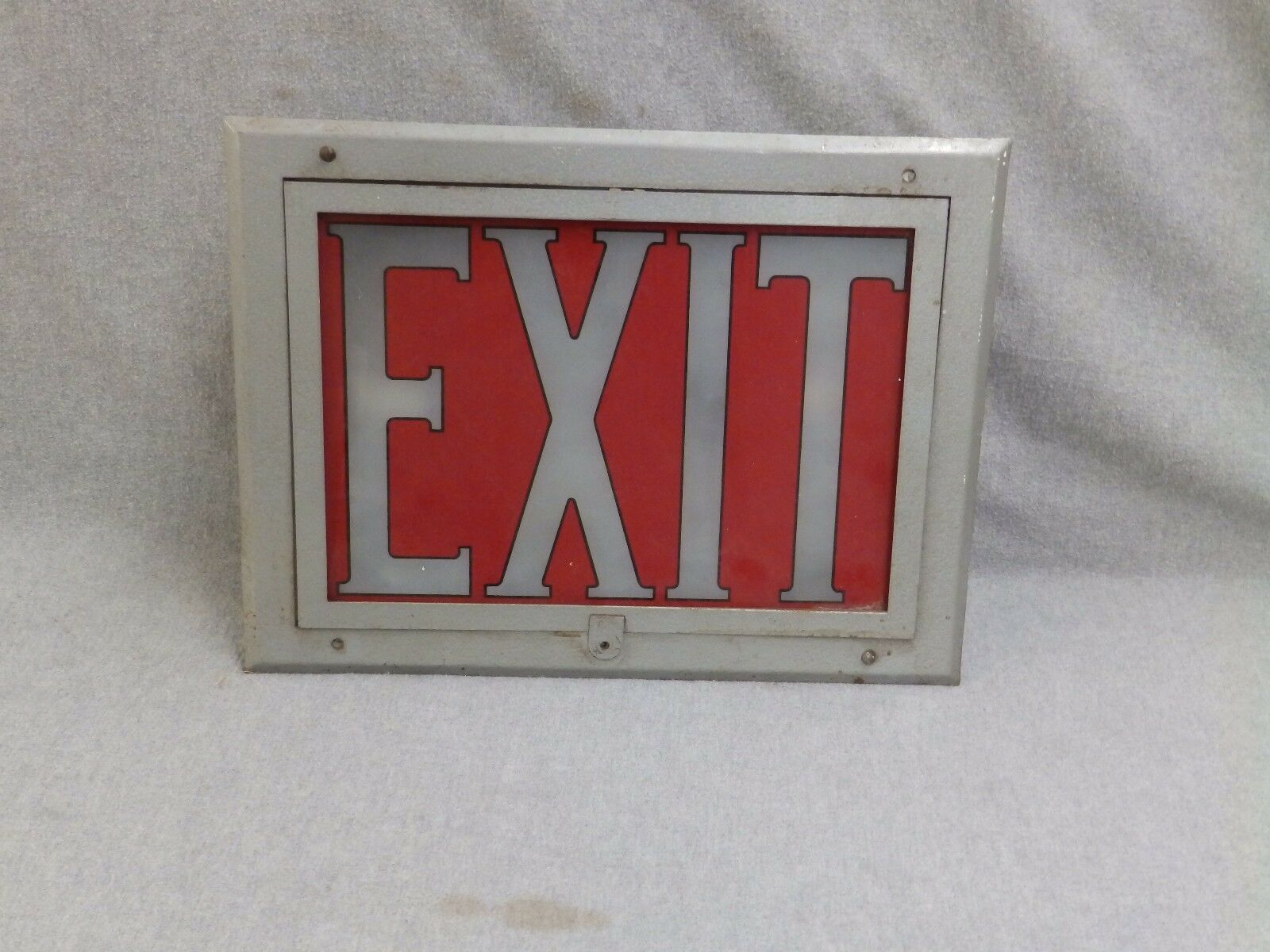 Vtg Art Deco Theater Recessed Exit Sign Light Fixture Sconce Glass Panel 889-16