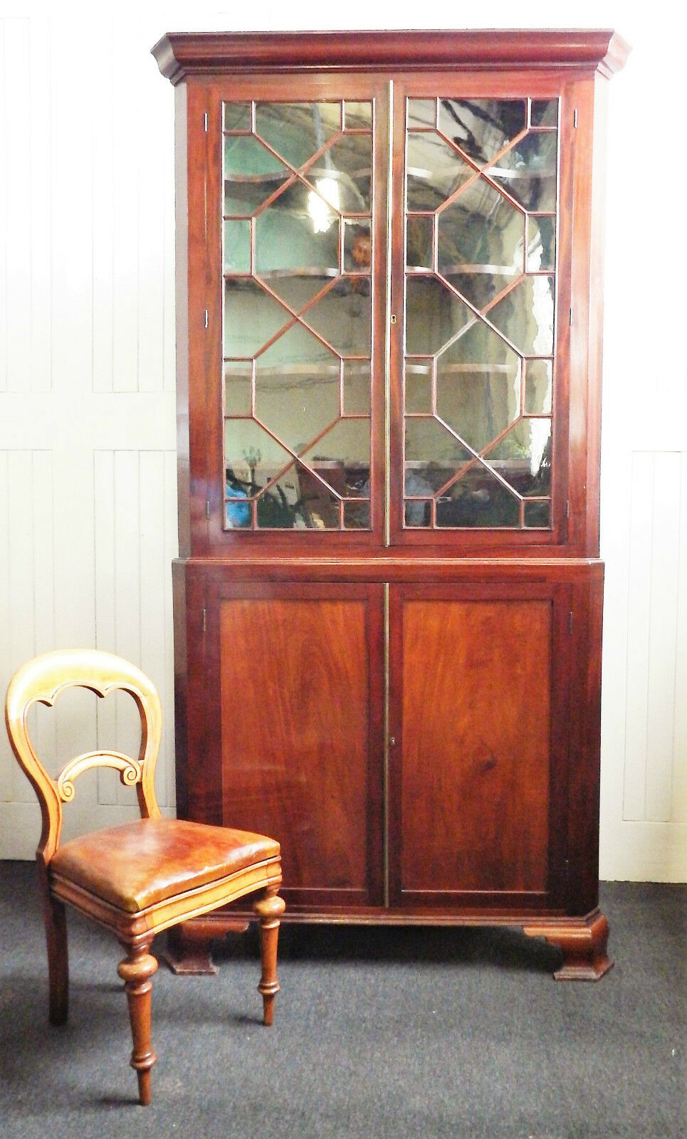 Antique large Victorian Mahogany 8ft tall corner cupboard - display cabinet