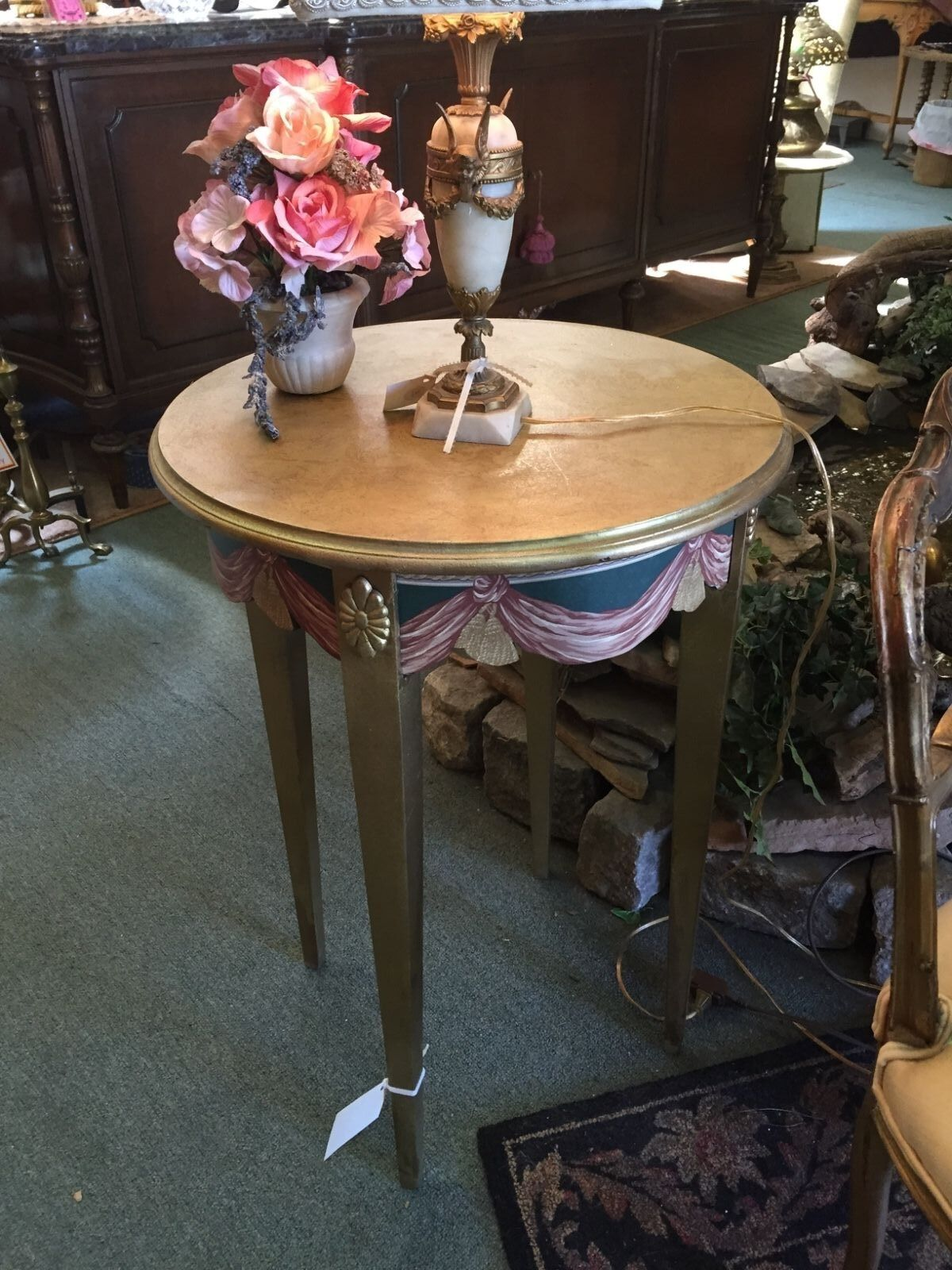 Beautiful vintage dorothy draper style round side table for Round table 99