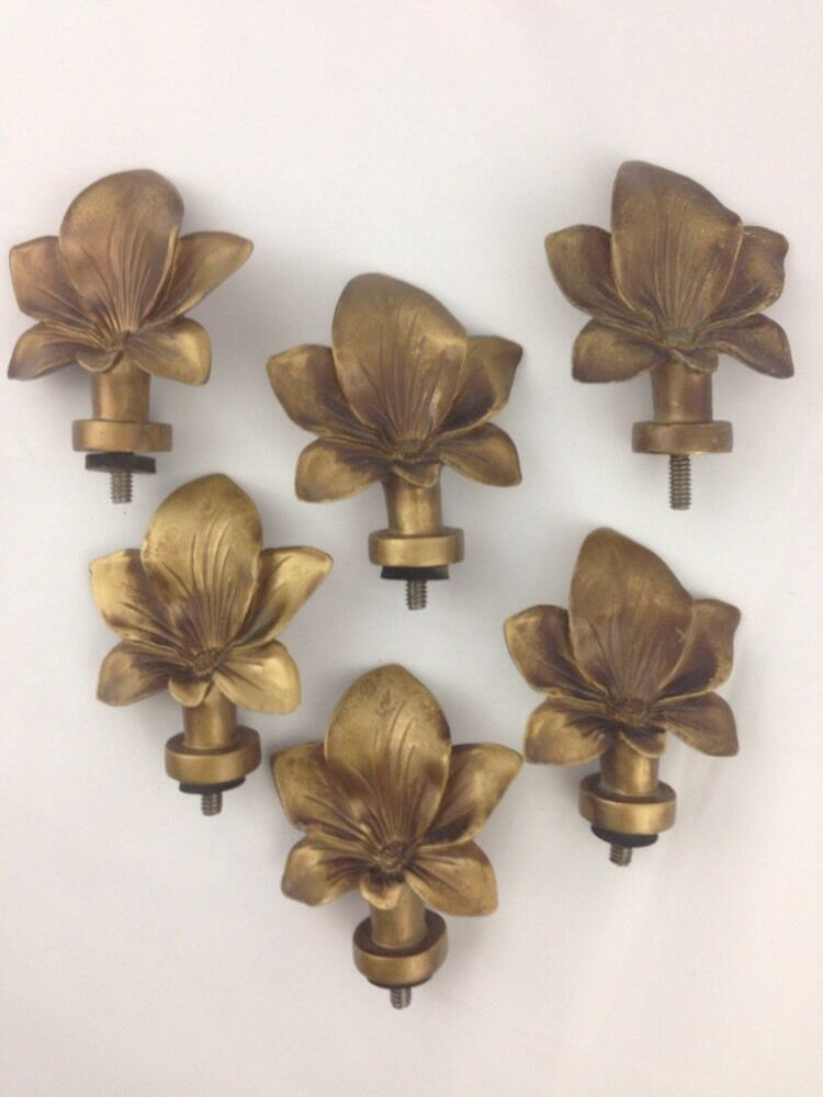 Set of 6 Drawer Pulls Cabinet Door Curtain Tie Backs Floral Lily Flowers Large