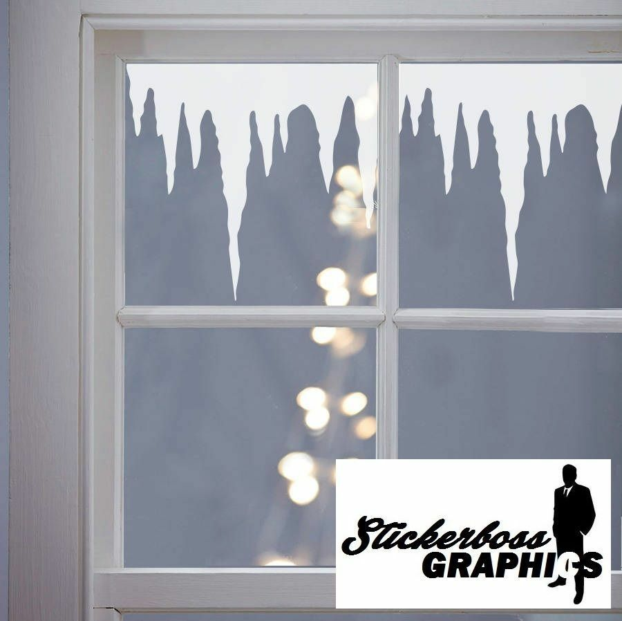Christmas decoration icicles window stickers decals vinyl for Home window decorations