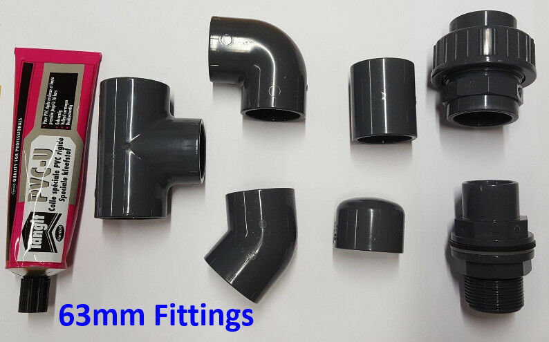 63mm PVC Pipe Solvent Weld and Fittings; Tee, Elbow, Socket, Joiner, Cap etc.