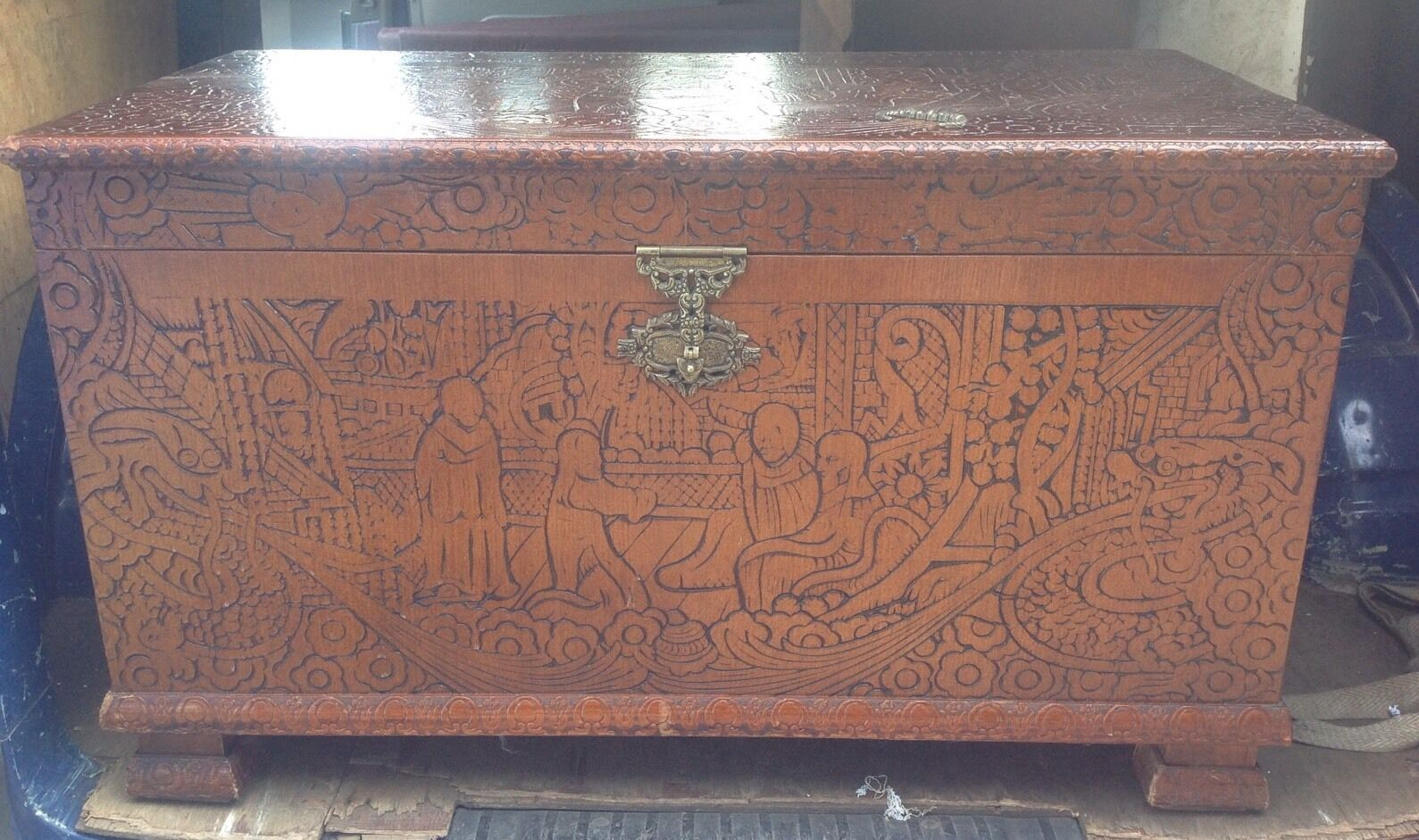 Vintage Camphor Wood Chest. Storage. Coffer. Box .carved.