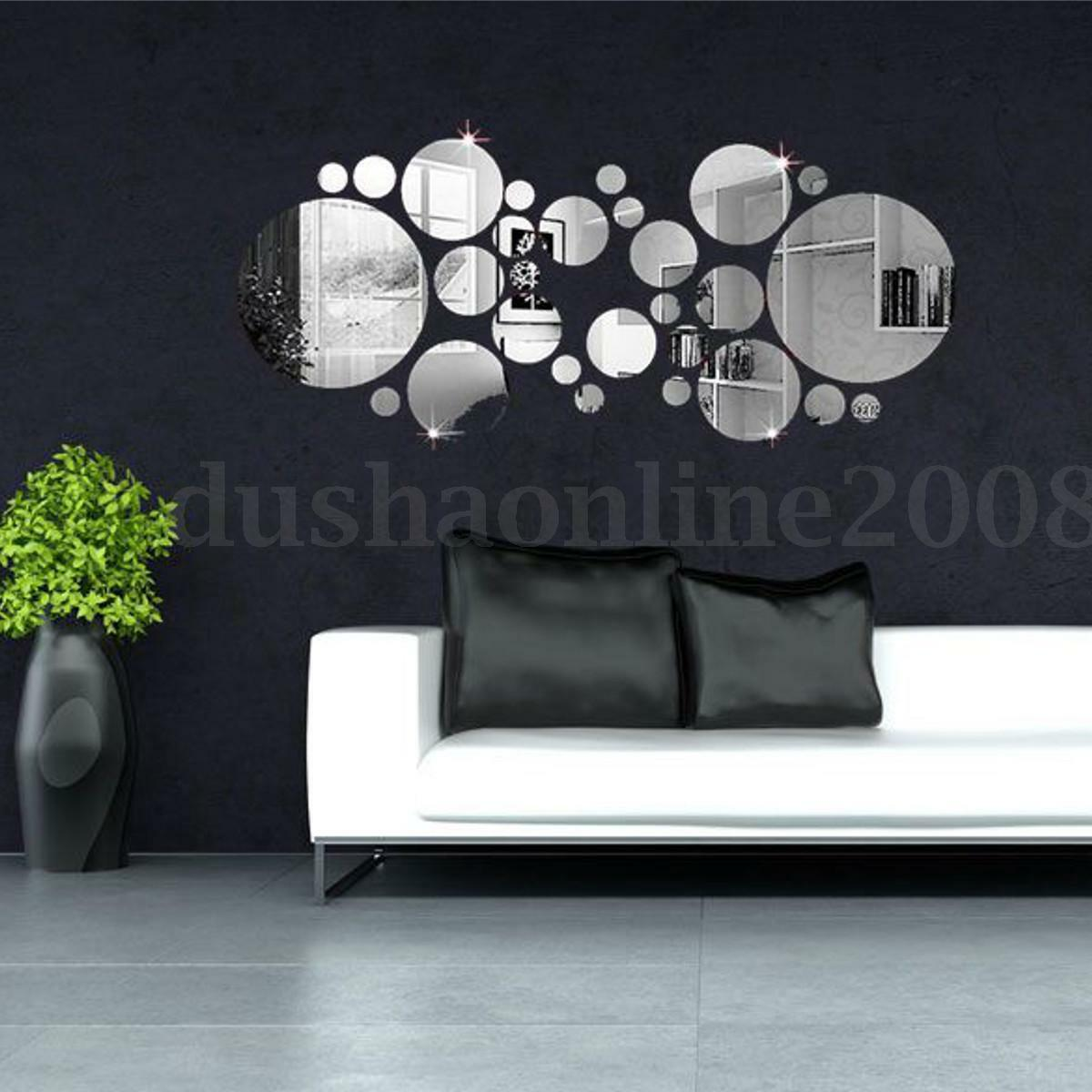 30x 3d cercle sticker autocollant miroir adh sif diy art for Decor mural adhesif