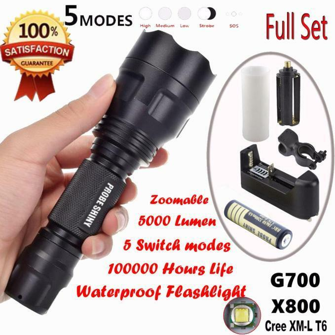 5000 lumens g700 x800 c8 tactical lampe torche led zoom. Black Bedroom Furniture Sets. Home Design Ideas