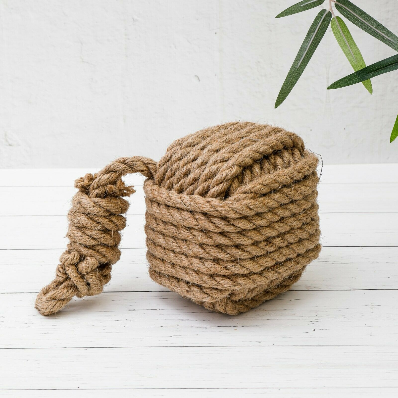 Large heavy hessian brown rope square knot cube ball for Heavy rope for nautical use
