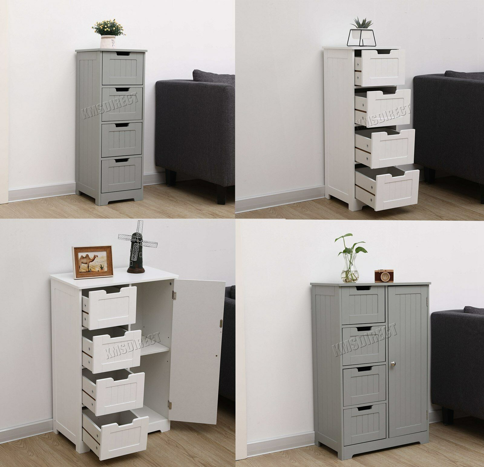 Foxhunter White Wooden 4 Drawer Bathroom Storage Cupboard Cabinet Standing Unit 1 Of 12free Shipping