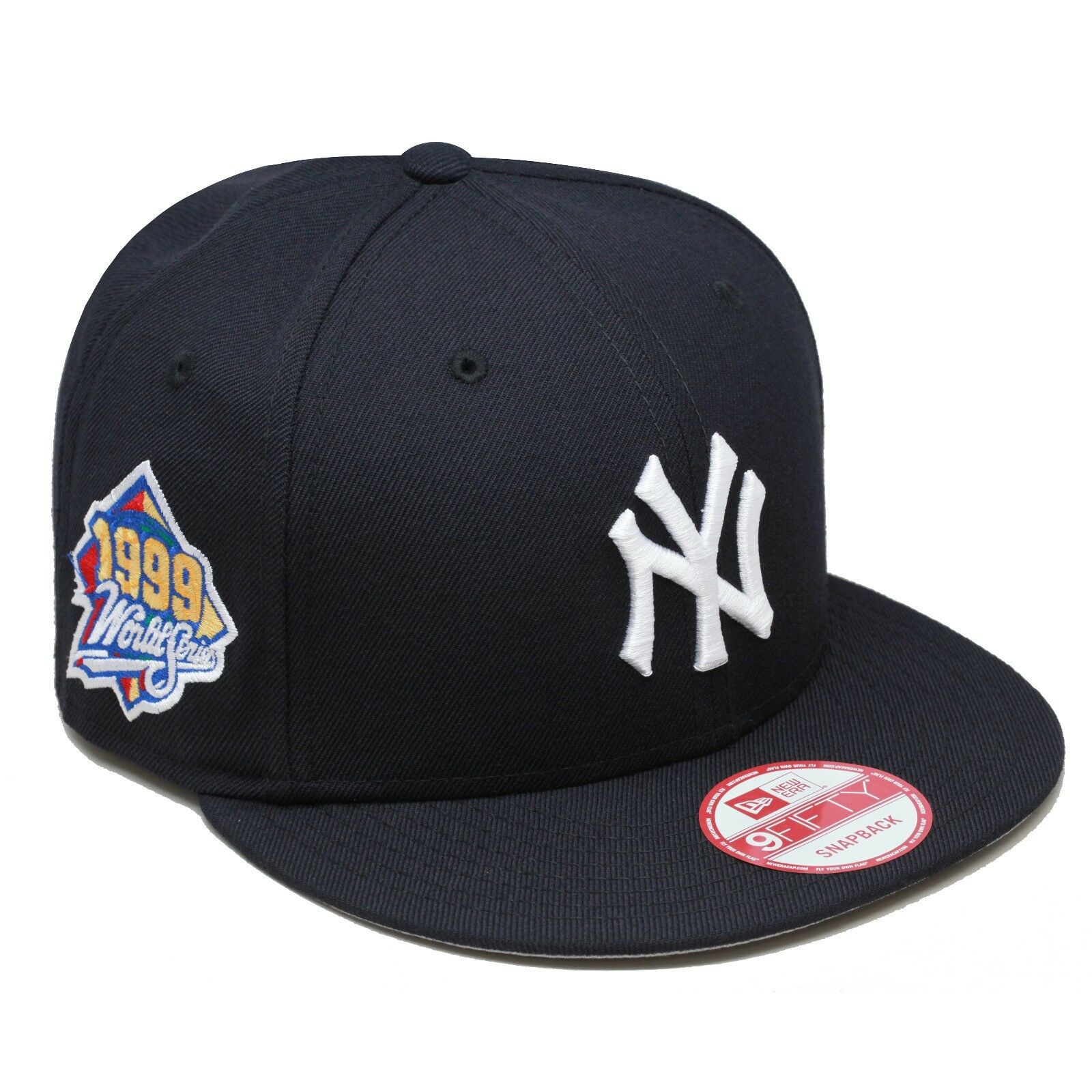 New Era New York Yankees Snapback Hat 1999 World Series Side Patch NAVY  WHITE 1 of 4 ... 9d8ab1ac560