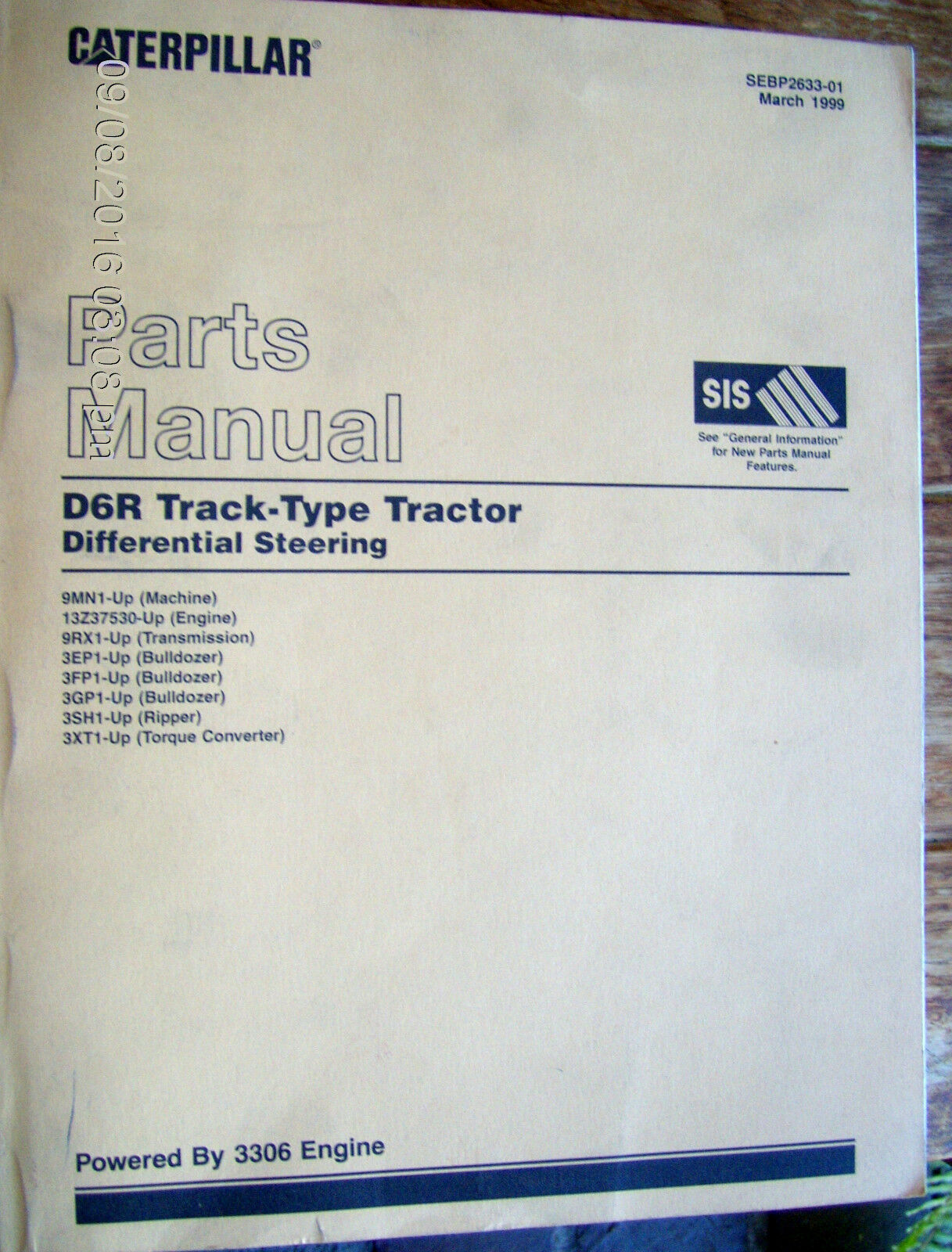 Caterpillar Cat D6r Lgp Track Type Tractor Parts Manual 8tm Sebp2634 3306 Engine Diagram 02 691 1 Of 10only Available