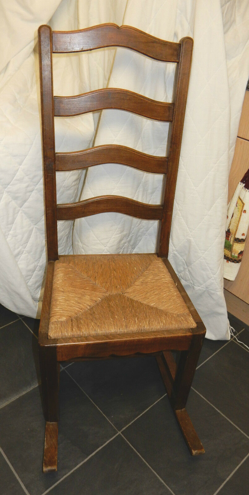 Antique Oak Ladderback Rocking Nursing Chair Rush Seat