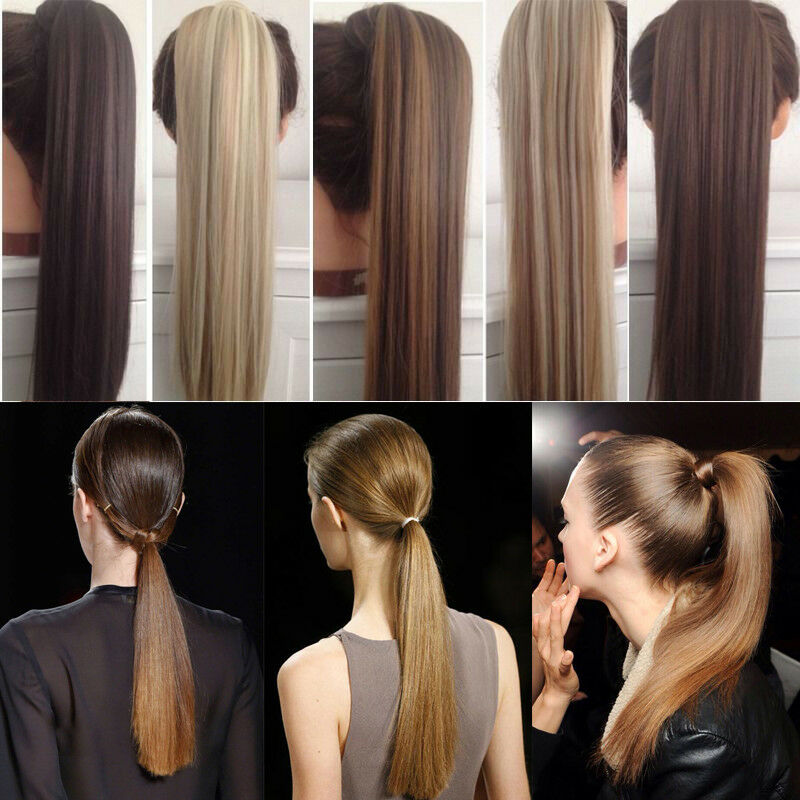 Us Post Real Clip In 5 Human Hair Extension Pony Tail Wrap Around
