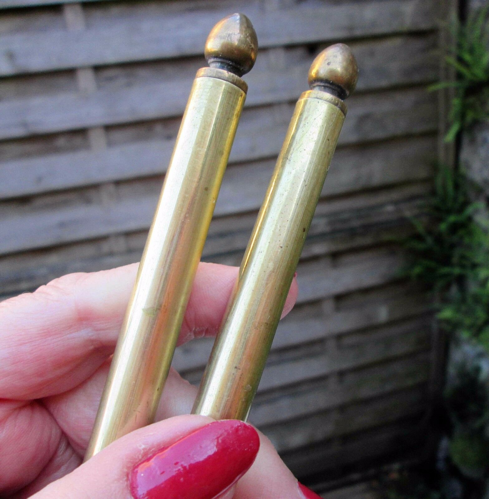 """Pair Of Vintage French Brass Curtain Rods 29"""" Long Cafe Net Pole Rail"""