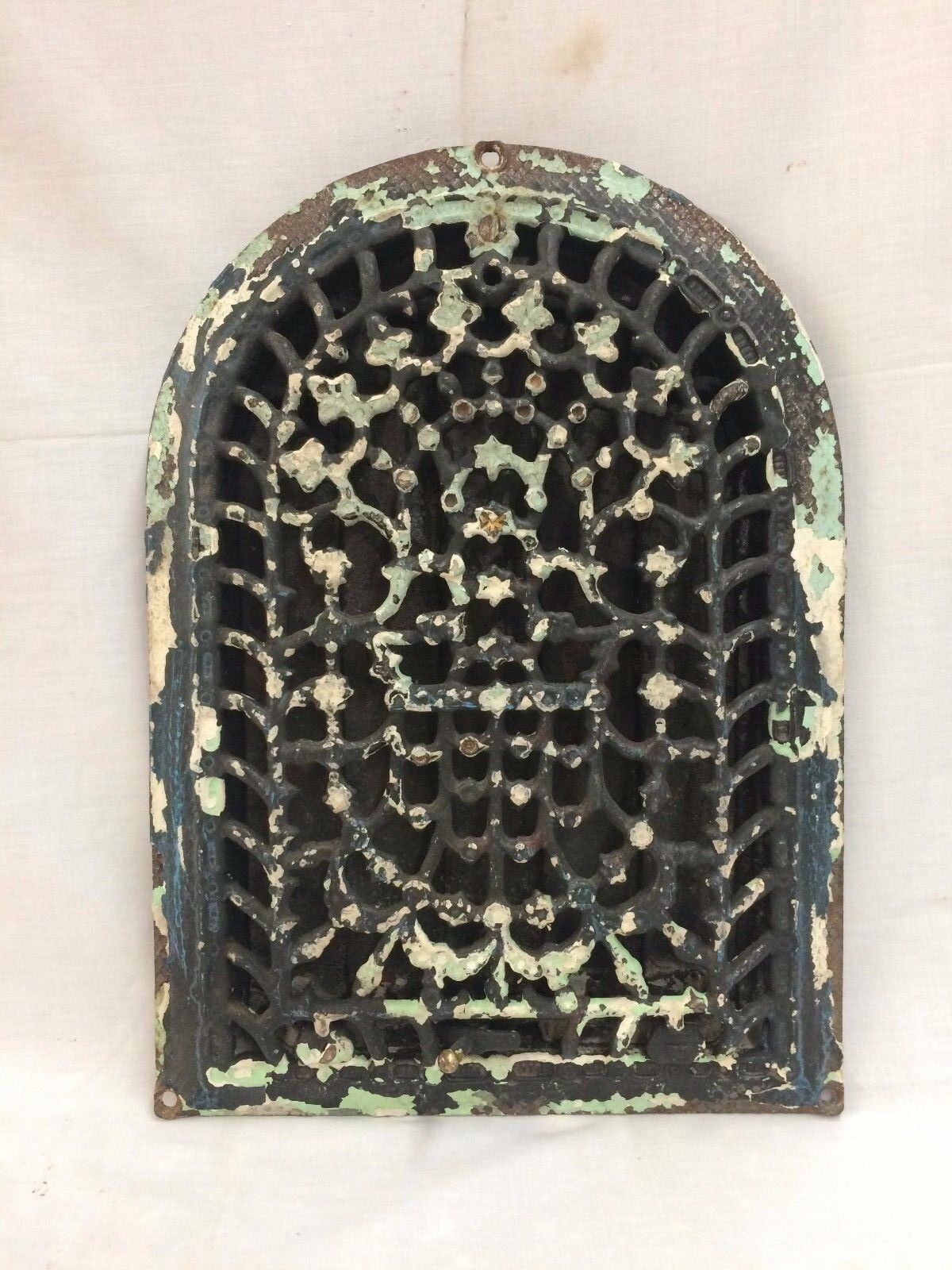 Antique Cast Iron Arch Top Dome Heat Grate Wall Register Black 2069-16