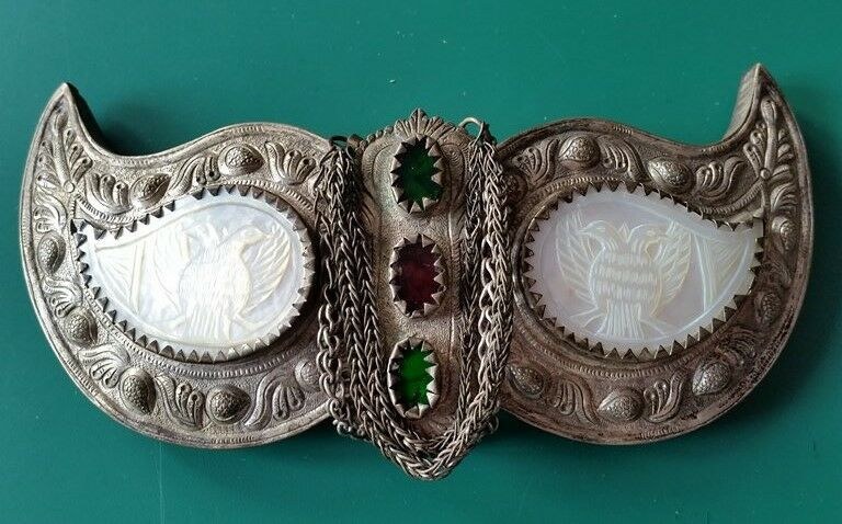 Antique silver alloy belt buckle with Mother of pearl+double-headed eagle 19th c