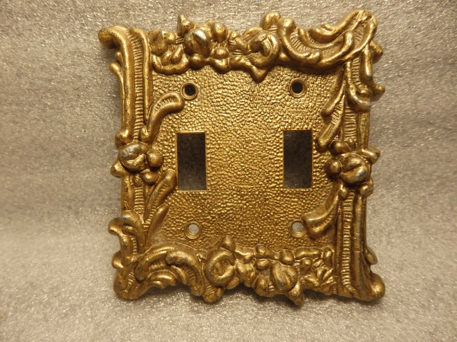 Heavy Ornate Cast Pewter with Brass Finish Double Wall Switch Plate
