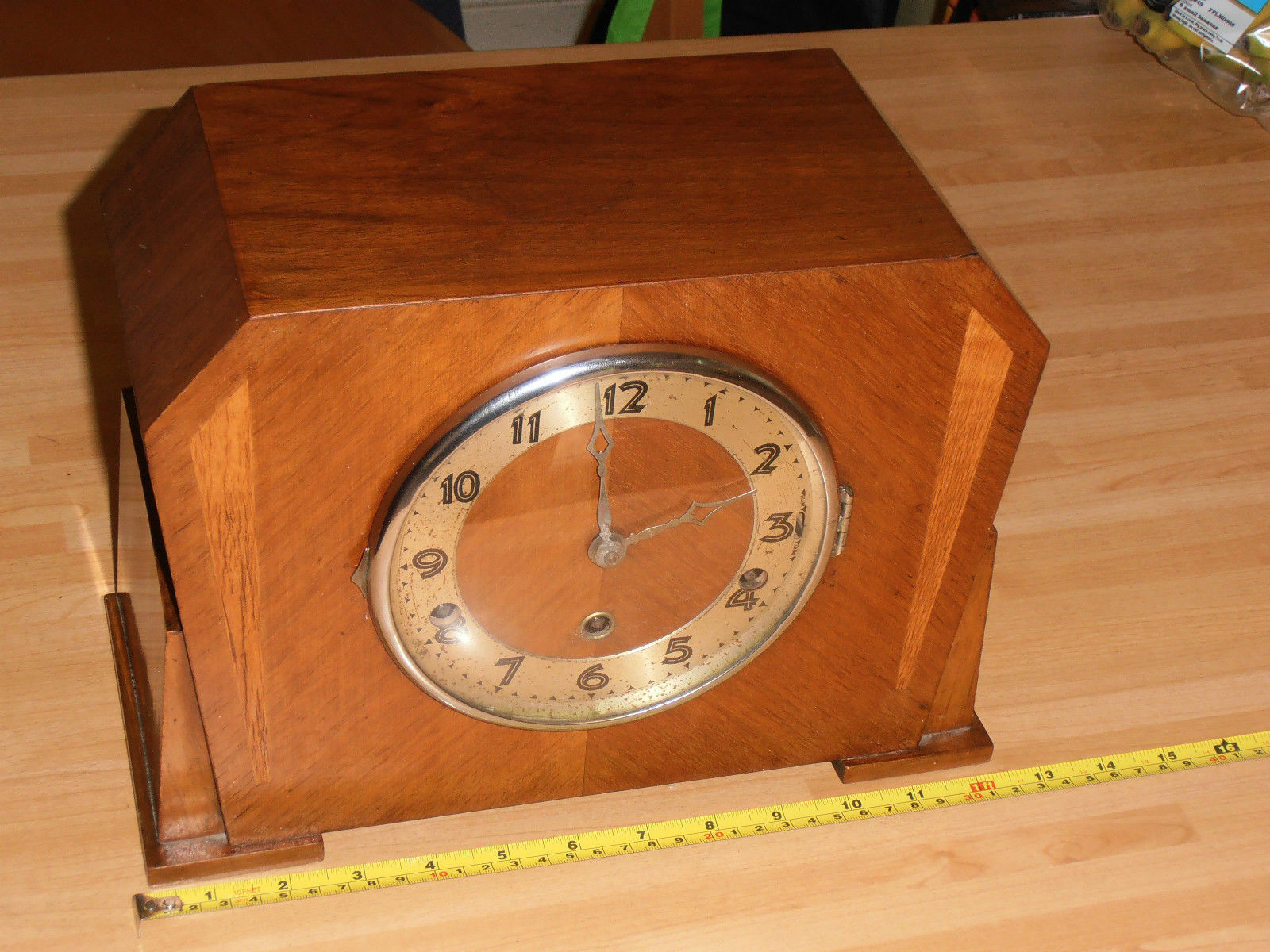 Art Deco Highly Polished Wooden Mantel Clock with Westminster chime