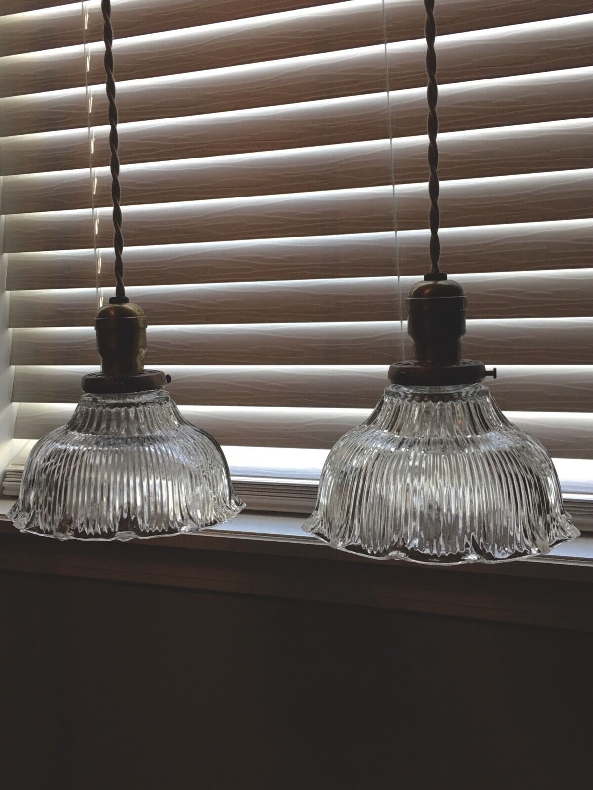 """Wired Pair 39"""" Pendant Lights Ceramic Canopy Benjamin Hubbell"""