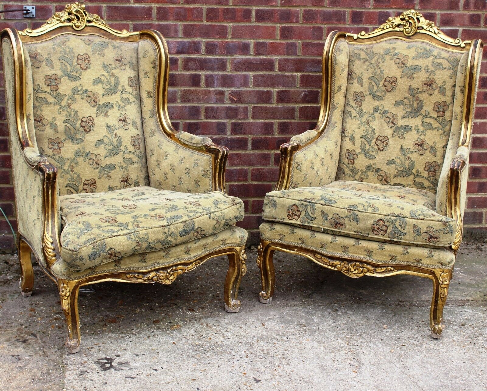 Antique French Furniture - Pair Of Wingback Armchairs - Louis - Gold C337