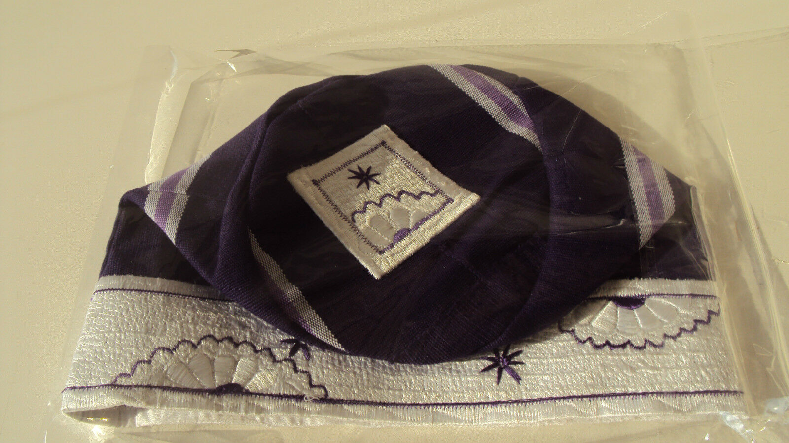 African Nigerian Traditional Aso Oke Fila - Men's Cap -  Purple 23 inch