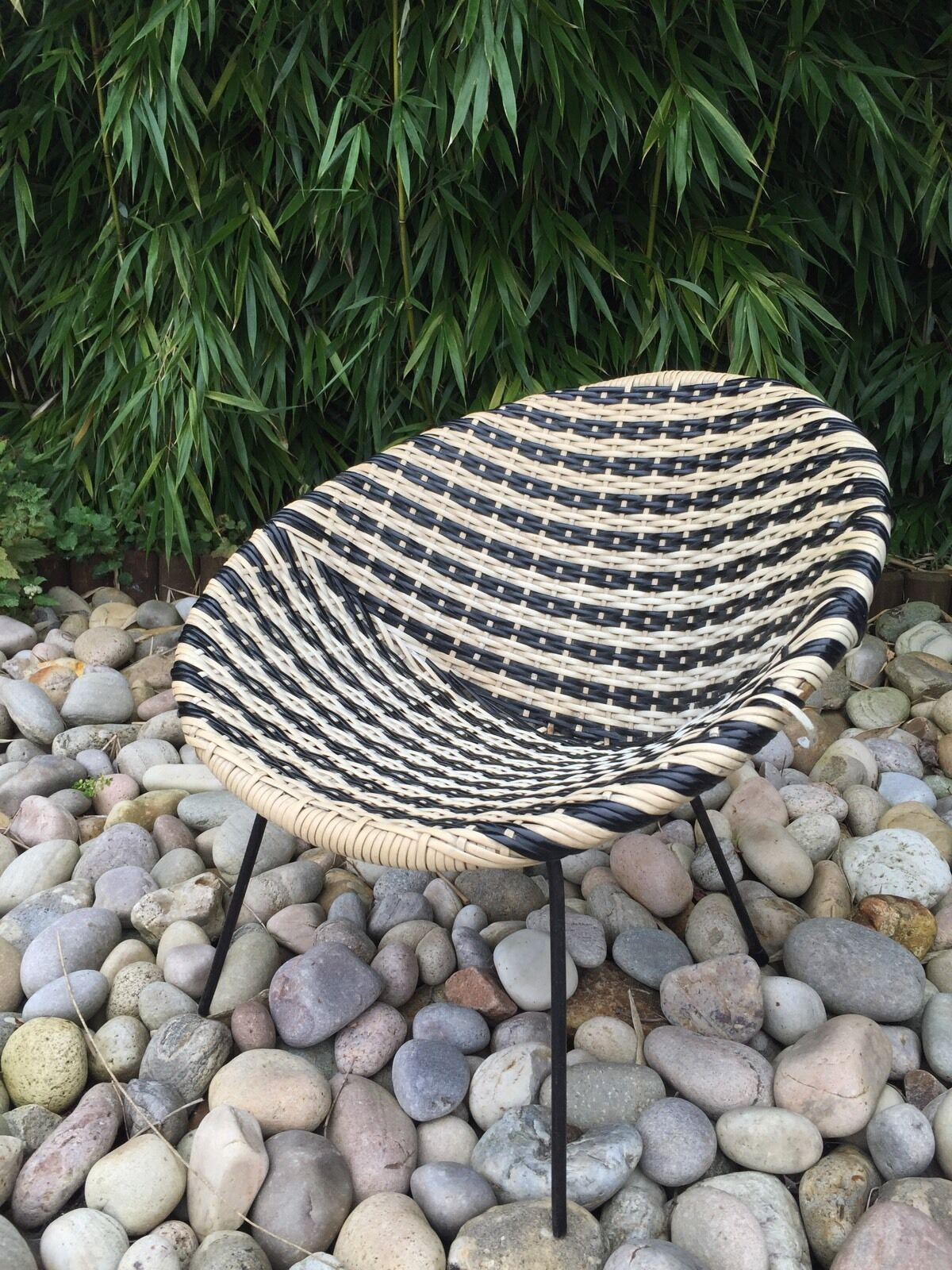 Vintage 1960s Tub  Rattan Satellite Chair In Black And White Retro Child's Pets