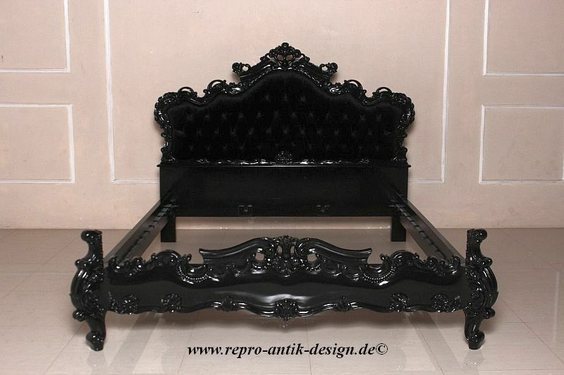 barock bett antik massiv prunk ehe doppelbett schwarz samt 180x200 stil landhaus eur 999 00. Black Bedroom Furniture Sets. Home Design Ideas