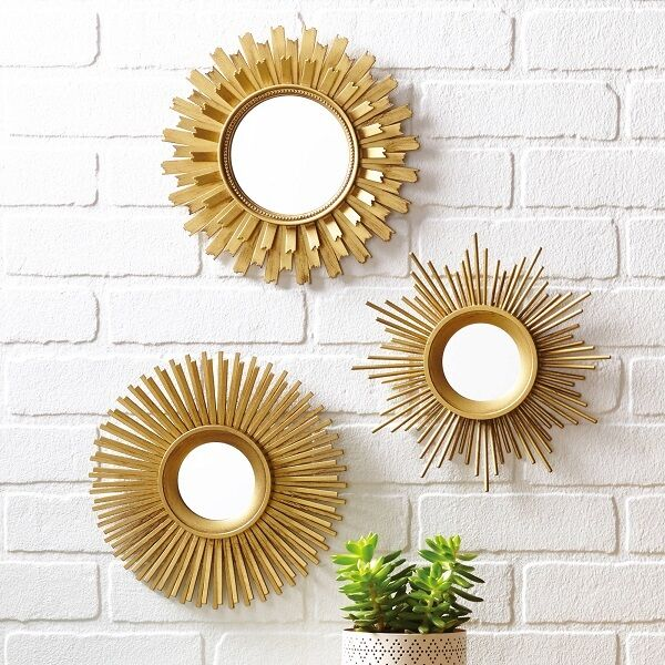 Wall Mirror Set 3 Pieces Modern Decor Wall Mounted Gold Art