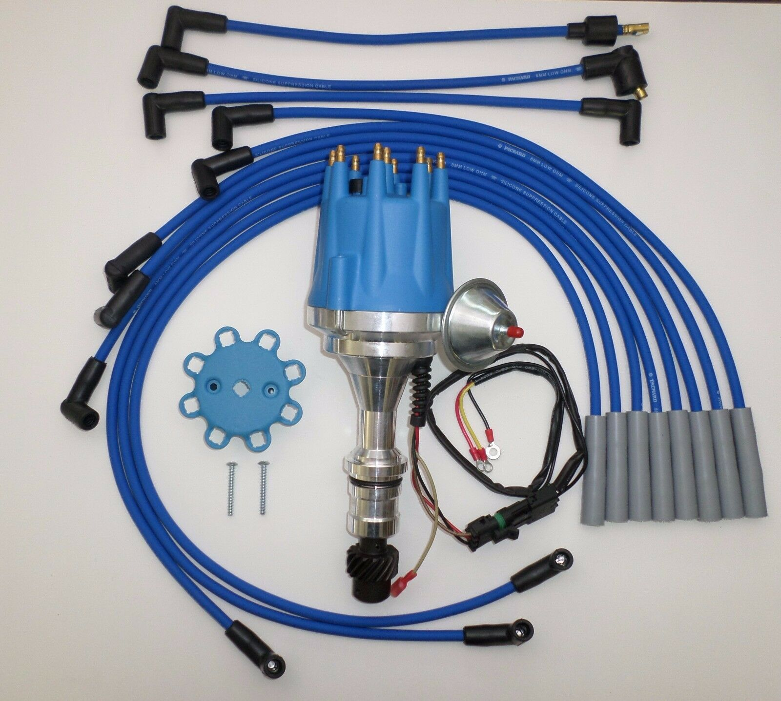 small cap OLDSMOBILE 350,400,403,455 HEI BLUE Distributor + SPARK PLUG WIRES  USA 1 of 6FREE Shipping small cap OLDSMOBILE ...