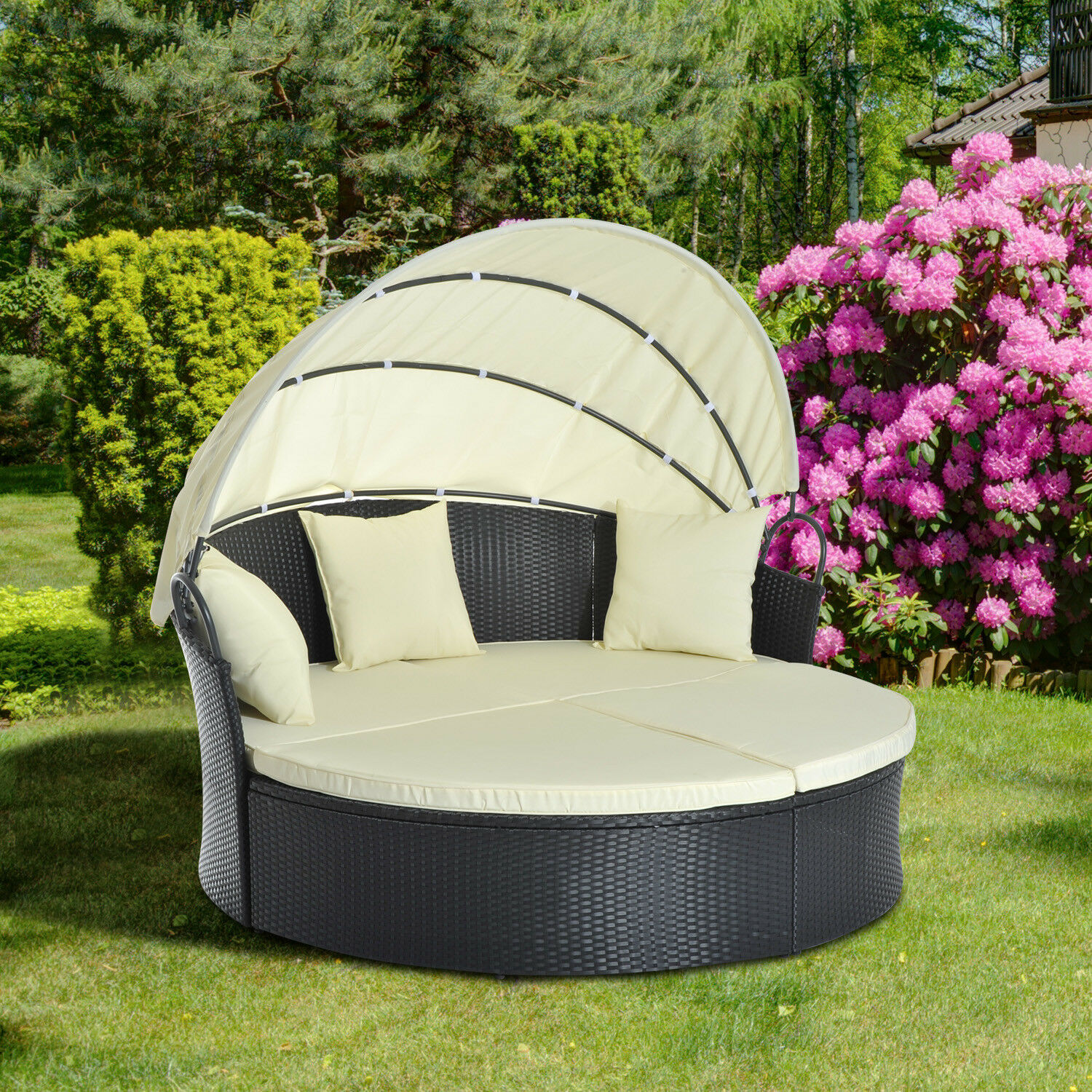 sonneninsel sonnenliege gartenliege set garnitur doppelsofa mit dach polyrattan eur 299 90. Black Bedroom Furniture Sets. Home Design Ideas