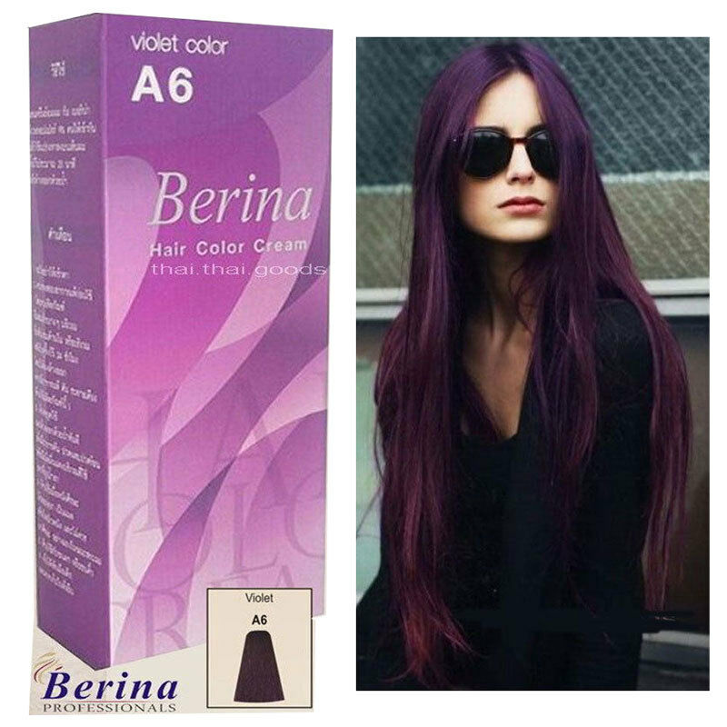 Purple Violet Classic Permanent Berina A6 Hair Dye Color Cream And
