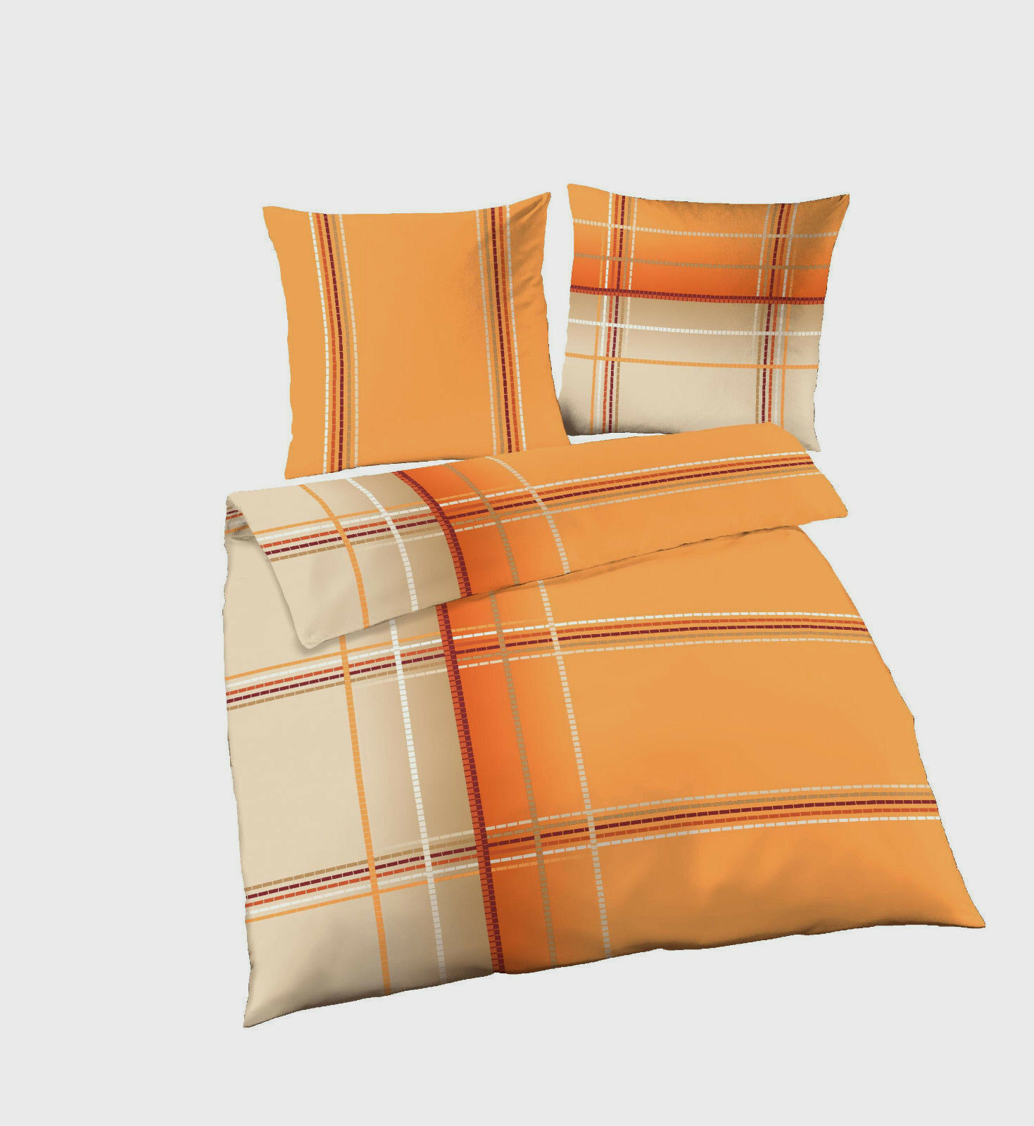bettw sche 200x200 cm streifen 47669 orange b ware biber eur 19 95 picclick de. Black Bedroom Furniture Sets. Home Design Ideas