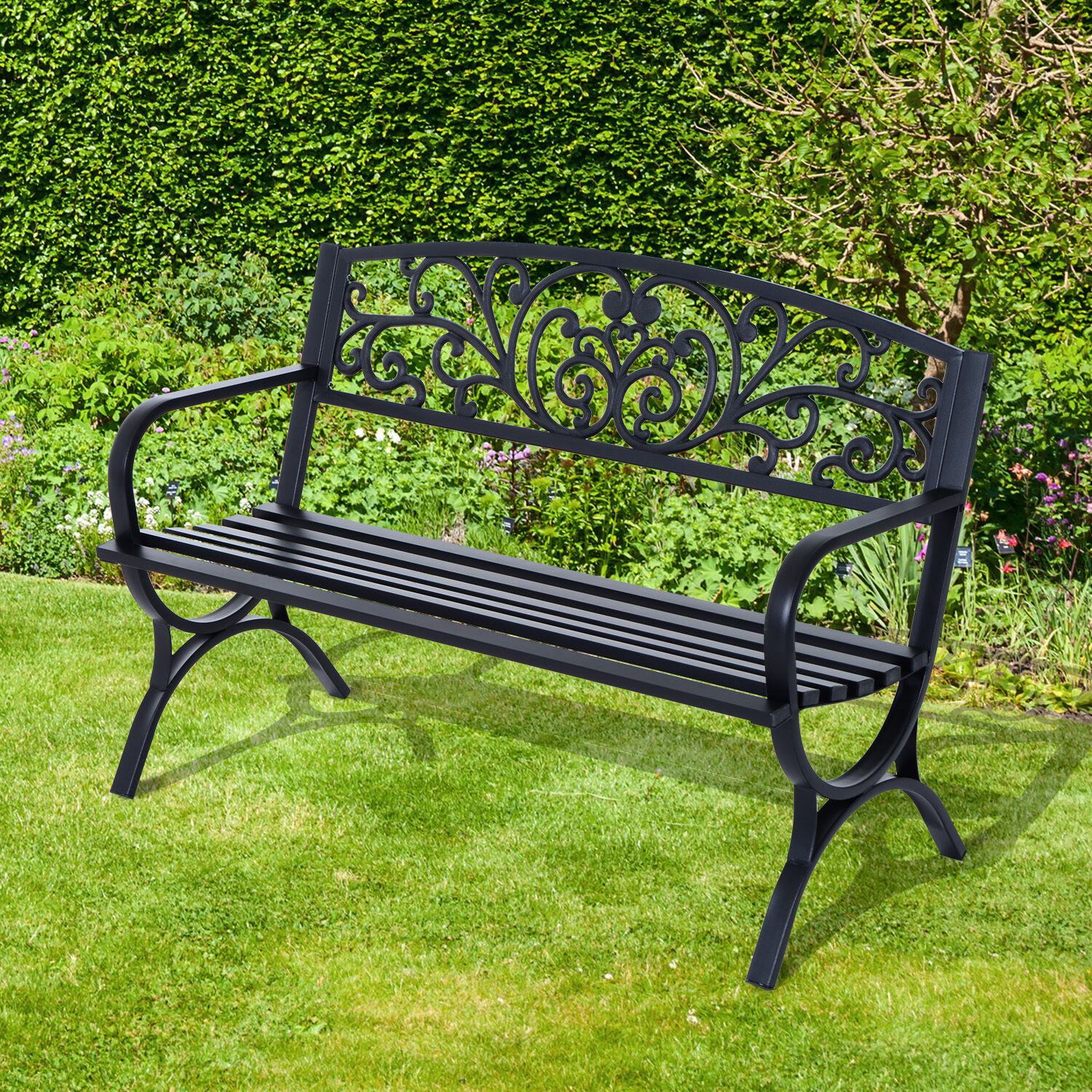 outsunny gartenbank sitzbank blumenbank metall gartenm bel 2 sitzer schwarz eur 74 90. Black Bedroom Furniture Sets. Home Design Ideas