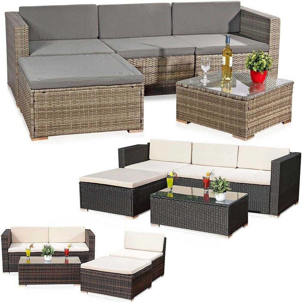5tlg rattan garten ecksofa lounge tisch polster sitzgruppe rattanm bel braun eur 349 85. Black Bedroom Furniture Sets. Home Design Ideas