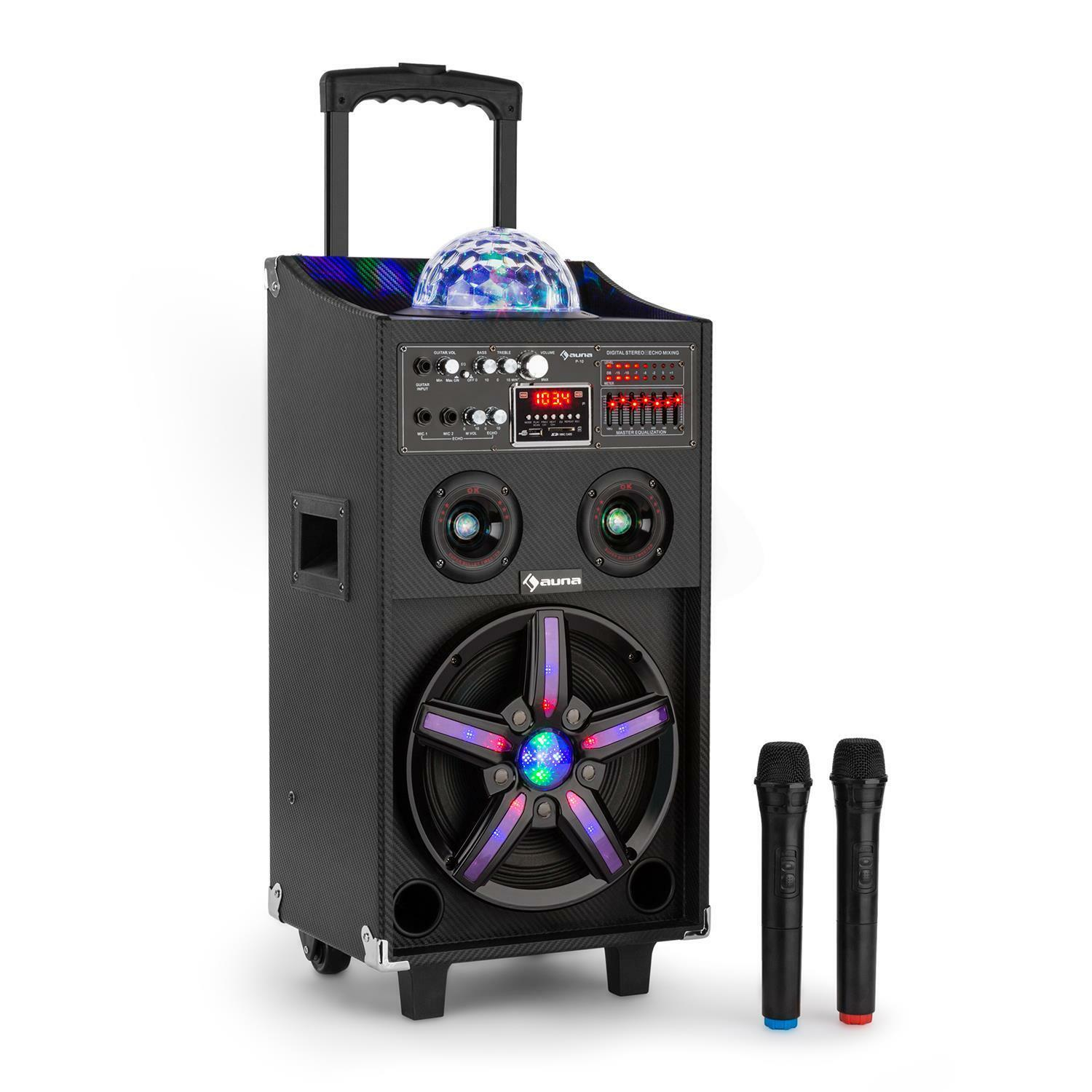 2 wege soundsystem lautsprecher tragegriff rollen karaoke aux eingang 100 watt eur 799 95. Black Bedroom Furniture Sets. Home Design Ideas