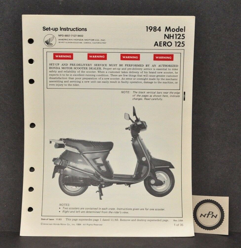 Vtg 1984 Honda NH125 Aero 125 Set Up Assembly Pre Delivery Instructions  Manual 1 of 3 See More