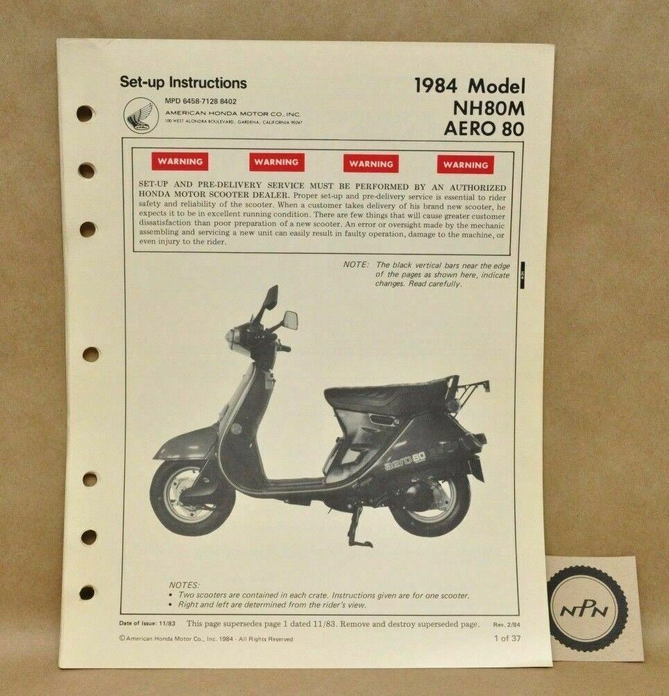 Vtg 1984 Honda Nh80 M Aero 80 Set Up Assembly Pre Delivery Nu50 Wiring Diagram 1 Of 3only Available