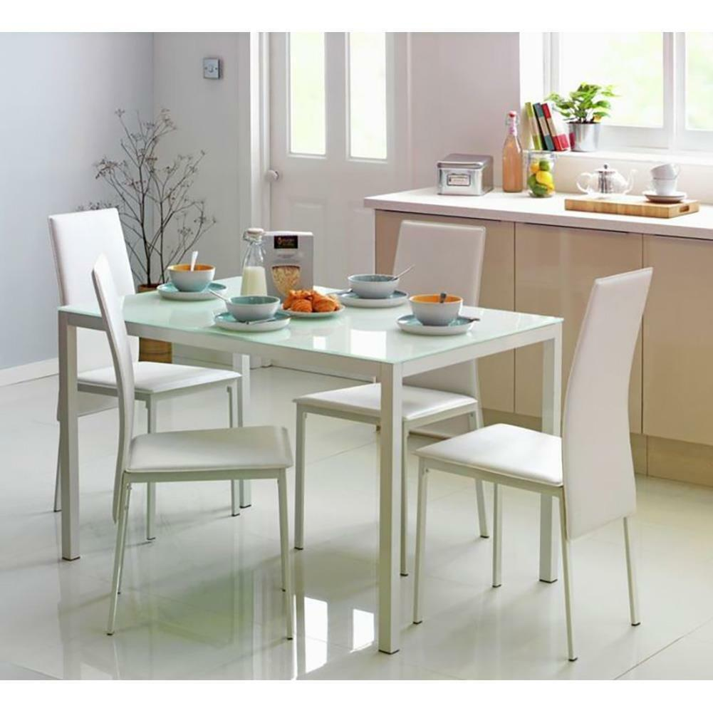 Hygena lido garcia glass dining table and 4 chairs white for Glass dining table and chairs