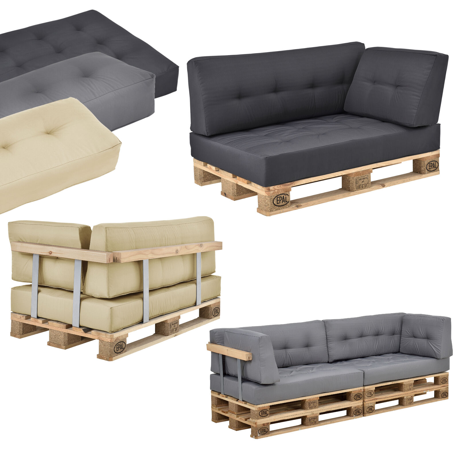 en casa palettenkissen in outdoor paletten kissen sofa polster sitzauflage eur 23 99. Black Bedroom Furniture Sets. Home Design Ideas