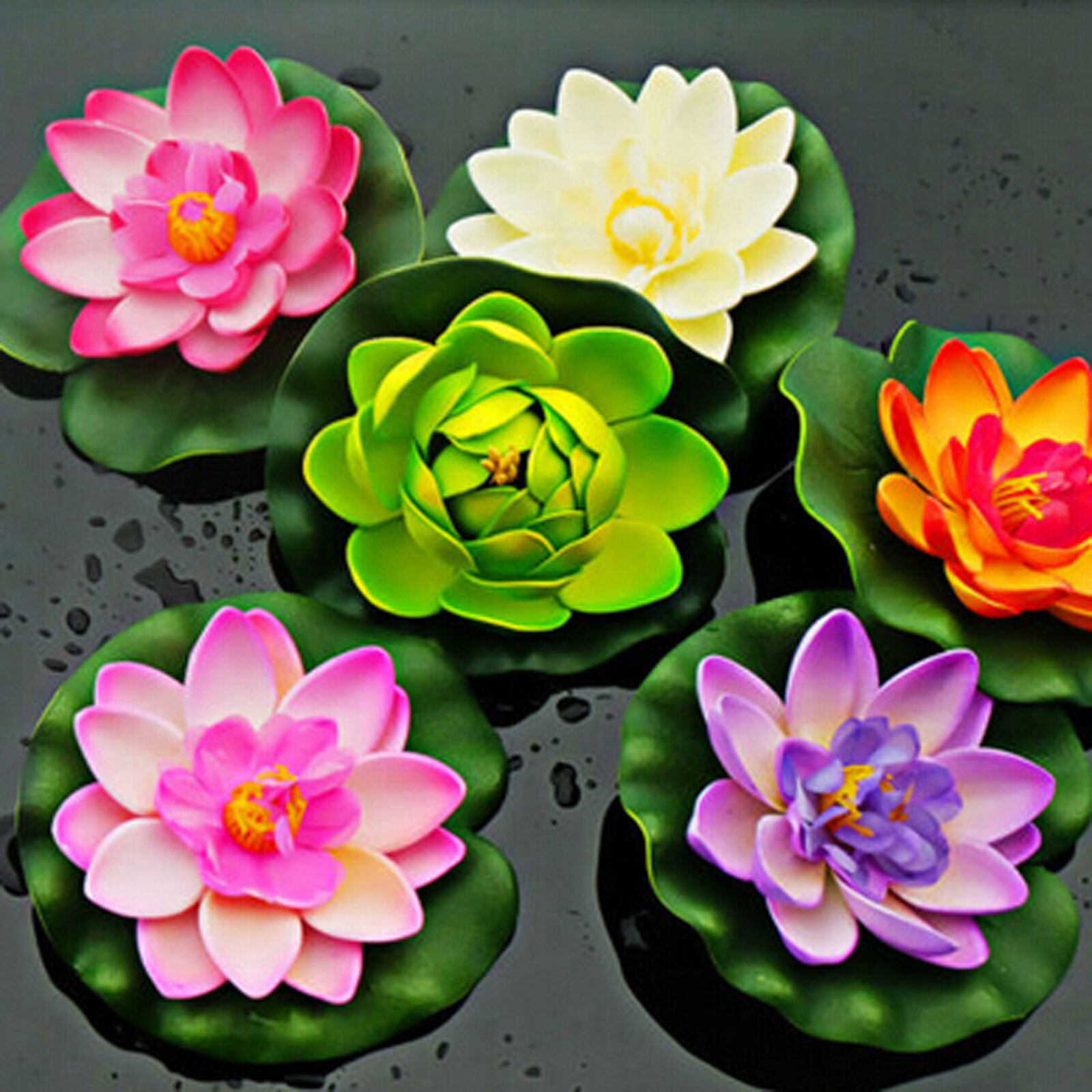 Plastic Fake Lotus Water Lily Floating Flower Home Decor Tank Plant