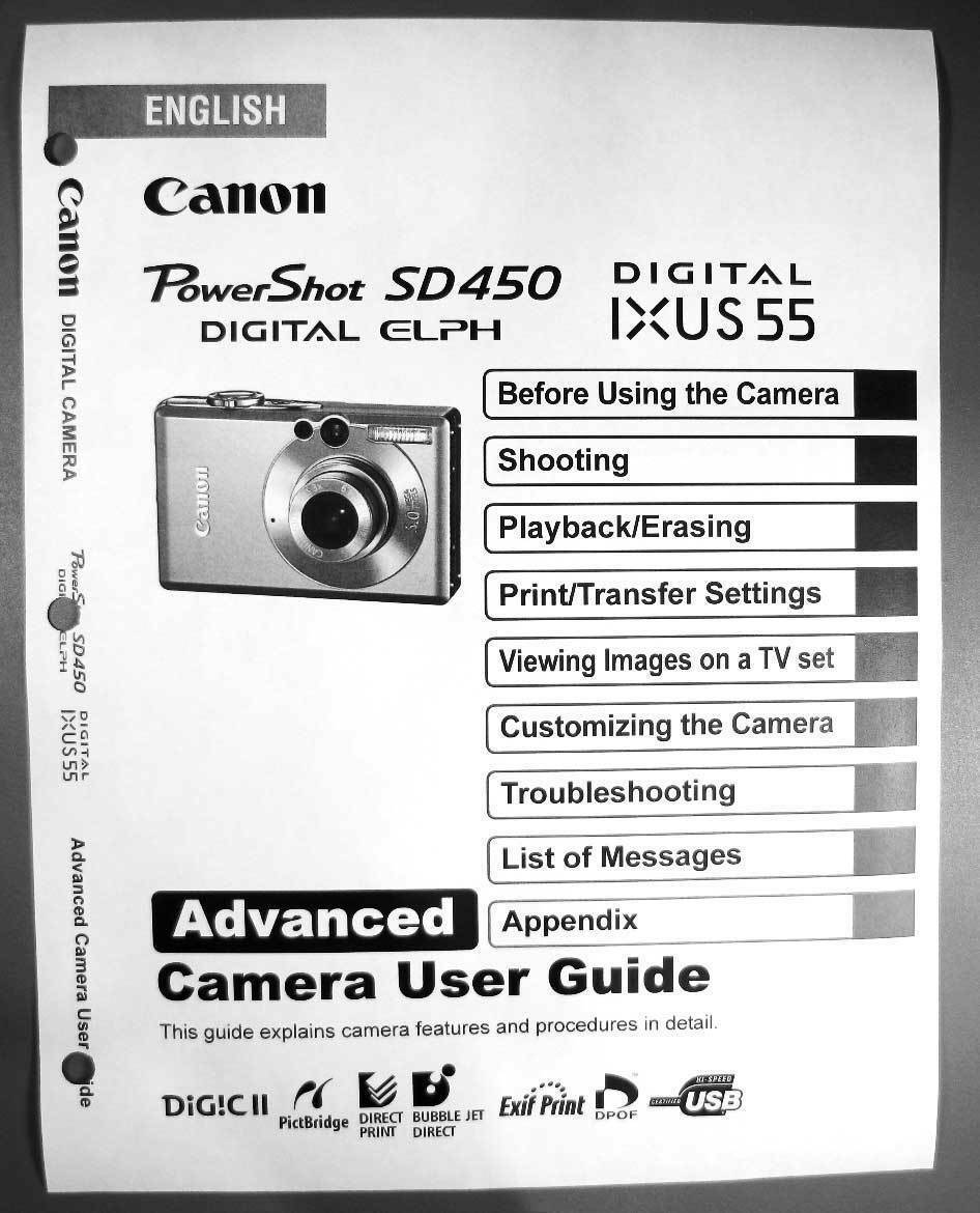 canon powershot sd450 ixus 55 digital camera user guide instruction rh picclick com