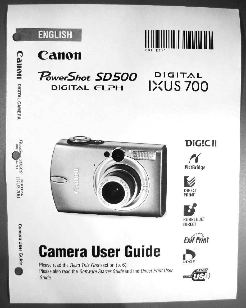 canon powershot sd500 ixus 700 digital camera user guide instruction rh picclick com Canon IXUS 125 HS Canon IXUS 255 HS