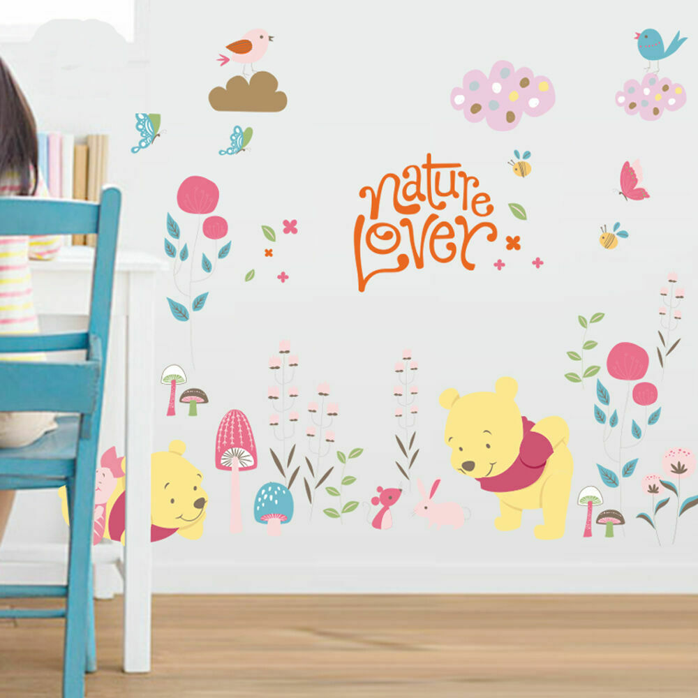 Winnie the pooh wall stickers kids baby decor art mural for Baby mural stickers